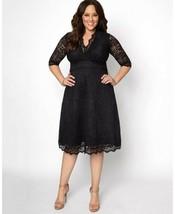 Kiyonna Women's Dress 1X Black Mademoiselle Style V Neck Empire Waist LB... - $53.45
