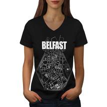 Belfast City Map Fashion Shirt Belfast Town Women V-Neck T-shirt - $12.99+