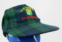 St. Andrews Old Course Golf Green Blue Plaid Baseball Cap Hat Snapback B... - $15.99