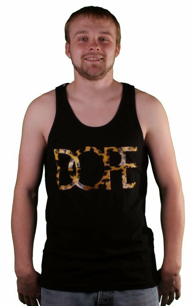 Dope Couture Black Leopard Logo Tank Top Muscle Shirt