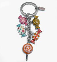 Coach Candy Mix Key Fob 92096 Purse Charm Silver Multi Colorful Keychain - $67.00