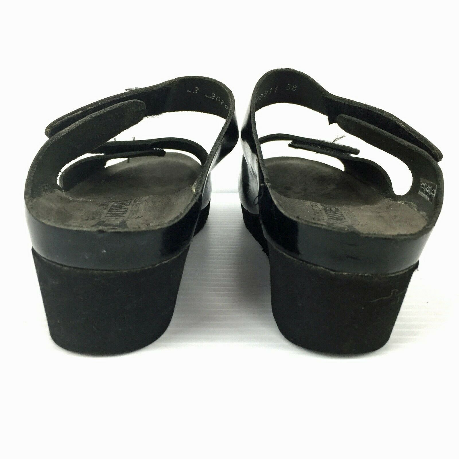 MEPHISTO Air Relax Mobils Black Patent Leather Wedge Slide Sandals Size 7 (US)