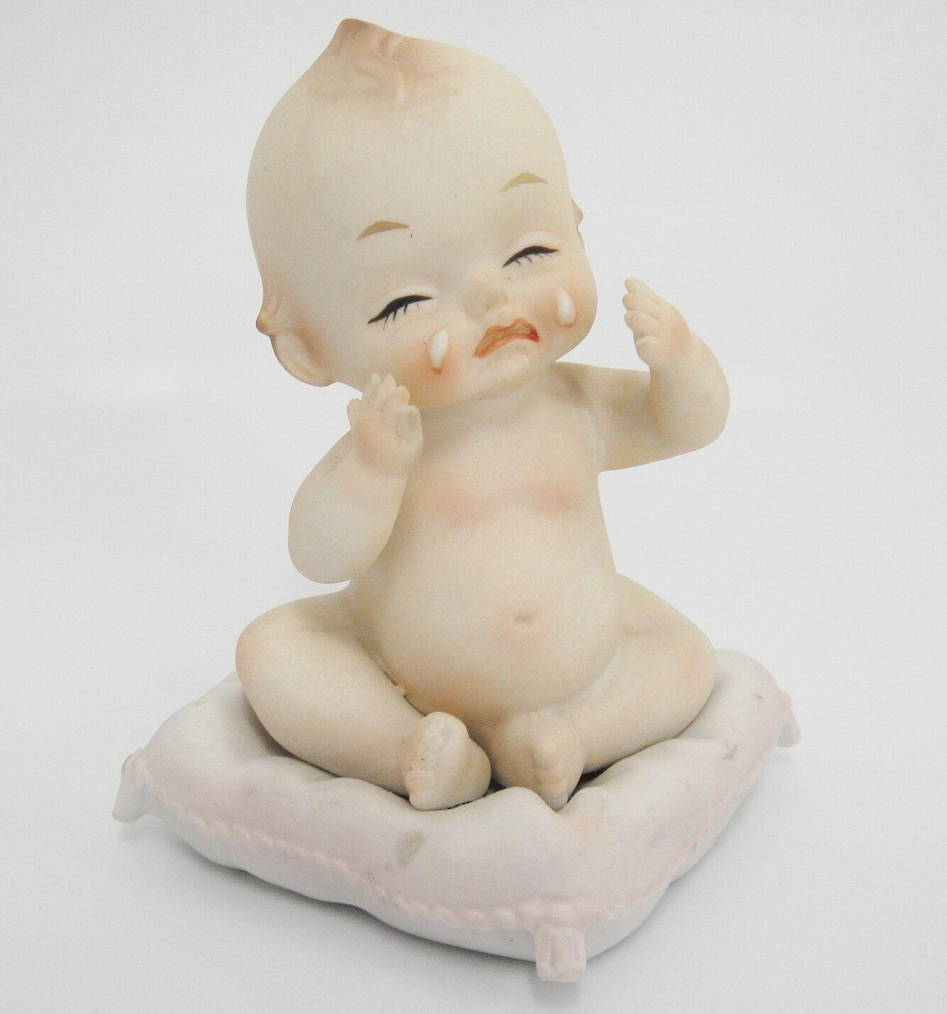 """Lego Japan Crying Baby Figurine Tiny Wings on Back Sitting on Pillow Bisque 4"""""""
