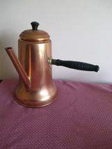 VTG 1970's COPPERCRAFT GUILD TURKISH COFFEE TEA POT, WOOD SIDE HANDLE - $19.79