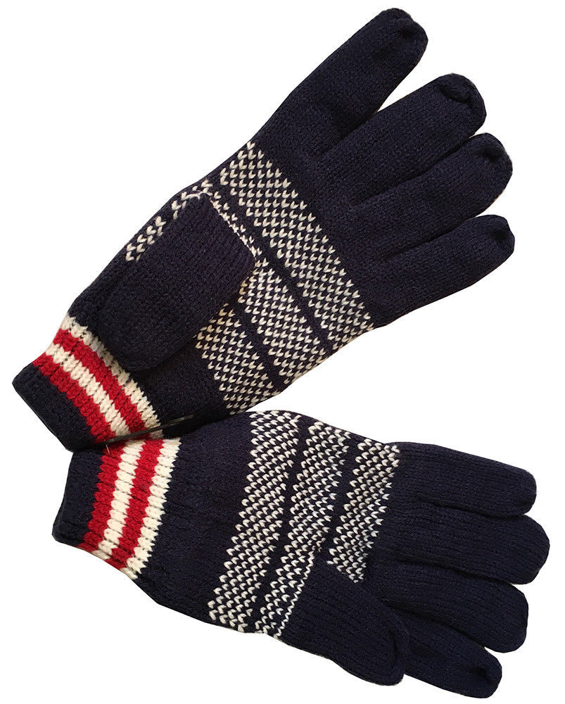 USA Men's Winter Knitted Warm Gloves Blue/Red/White