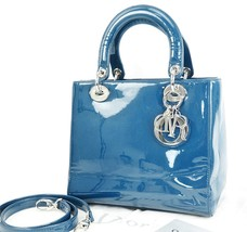 Auth Christian Dior Blue Patent Leather Lady Dior Hand Bag Purse #33051 - $1,150.00