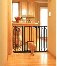 Black Super Wide Walk Through Pet Gate Dog Cat Door Step Over Carlson Pr... - $80.25