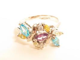 Uncas 925 Floral Aqua Purple Yellow Clear Stones Sterling Silver Ring*Sz... - $44.55