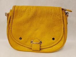 Street Level Mustard Yellow Fold Over Leather Crossbody Shoulder Handbag... - $59.39
