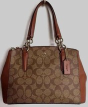 New Coach 58291 small Christie Carryall Coated Canvas Khaki / Saddle 2 - $134.00