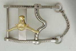 Herren Freizeit Western Cowboy Gürtelschnalle Silber Metall Lang Horn Kuh Gold image 11