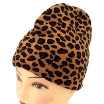 KNITTED WINTER SKI SNOWBOARDING HAT CAP ~ BROWN LEOPARD PRINT BEANIE FTM... - $6.43