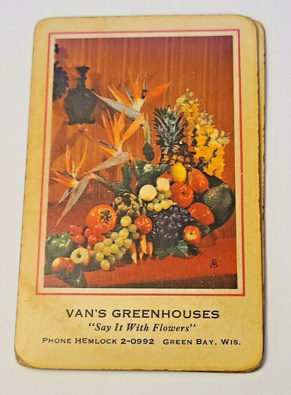 Vintage Retro Redislip Playing Cards Floral Centerpiece Van's Greenhouses  (003)
