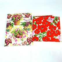 Retro Floral Wrapping Gift Paper 2 Cut Pieces Pink House Plants & Red Po... - $12.00