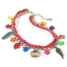 Princess Vera Wang Charm Collar Necklace Peace Lips Bug Star Charms - $14.99