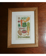 """Vegetable Cross Stitch Framed & Matted 6"""" x 8""""  - $15.47"""