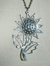 VTG Rare Reed & Barton Pewter Large Sunflower Flower Pendant Necklace wi... - $49.50