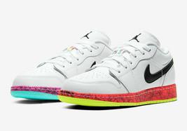 Nike Air Jordan 1 Low GS CV9548-100 White Multi Color Youth / Women's NEW Retro - $100.01