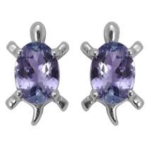 925 Sterling Silver Oval Cut Genuine Tanzanite Tortoise Stud Earring For... - $28.81