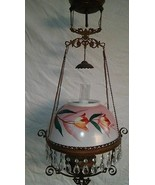 Antique Victorian Hanging Oil Lamp Electrified Pink & Floral Signed Shad... - $242.55