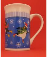 Royal Norfolk Greenbrier Penguin Snowflake Coffee Tea Cup Mug Blue Stone... - $10.88