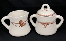 Sky Ranch Hartstone Pottery Creamer and Sugar Bowl Western Cowboy Steer - $24.74