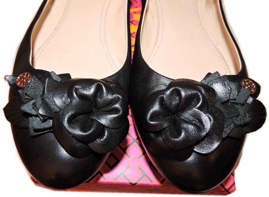 9ab3d3de73ed 2378. 2378. Previous. Tory Burch Blossom Ballerina Flats Black Leather  Ballet Shoe Flower 7.5 Reva