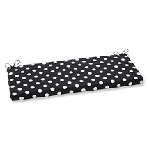 Pillow Perfect Polka Dot Bench Cushion, Black - £30.08 GBP
