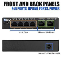 BV-Tech 4 Port PoE+ Switch with 2 Ethernet Uplink and Extend Function – 60W – 80 image 2