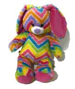 "Build a Bear Bunny Rabbit Plush 15"" Rainbow Chevron Blue Eyes 2014 Soft ... - $18.70"