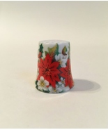 Merry Christmas Thimble Vintage Poinsettia Flowers Holly Leaves Porcelain - $17.00