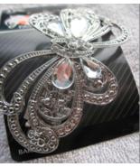 Goody Fashionow Silver Diamonds Metal Butterfly Hair Barrette Clip Fancy Gems - $15.00