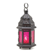 Dark Pink Glass Candle Lantern 10015221 - $18.82