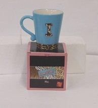 Russ Berrie 37757 Gone Wild Letter I Mug Blue Brown Leopard Print image 1