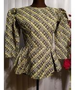 African Print Women Peplum Style Top with Rhinestones - $48.37