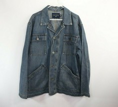 Vintage 90s Nautica Mens XL Spell Out Full Button Denim Jean Chore Barn ... - $79.15