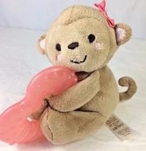 Child of Mine Brown Monkey Plush Animal Rattle Pink Heart Teether Teethi... - $14.50