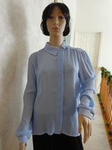 Wedgewood Blue Blouse Jolene Fashions (#0963) - $14.99