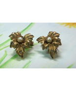 "Vintage Jewelry:1"" Coro Gold Tone Rhinestone Clipon Earrings Pat.2809501... - $12.99"