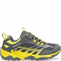 Merrell Boys' Moab FST Low WTRPF Hiking Shoe, Grey/Yellow, 05.5 W US Big Kid image 4