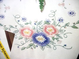 """Bucilla Stamped Embroidery Table Runner """"DELICATE FLORAL"""" 14"""" x 44"""" - $14.99"""