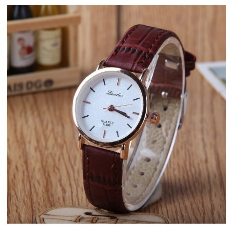 Round Bar Numeral White Couple Watches Leather Luxury Wristwatch image 3