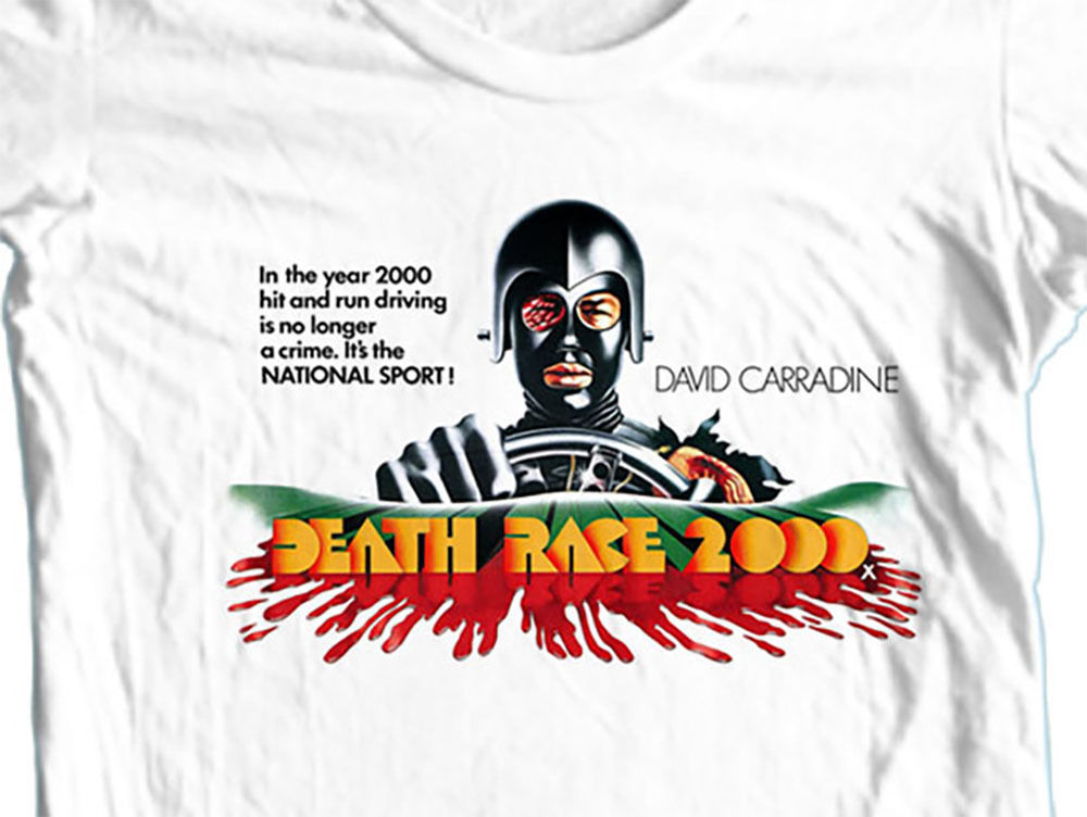 Race 2000 t shirt retro 70 s movie science fiction horror film david carradine white graphic tee