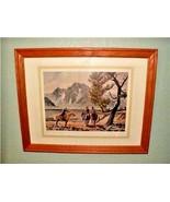 Rare print Horse Talk Western Art Conrad Schwiering Grand Tetons WY Hors... - $551.21