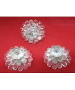 Lot of 3 Glass Lucite Flower Bead Decoration Tie Back Screw T80 - $24.26