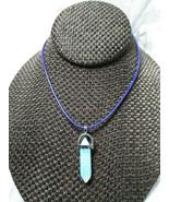 Opal Pendulum Necklace Natural Stone Handcrafted Women Men Teens - $14.00