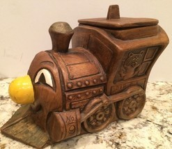Vintage Treasure Craft B & R No. 9 Brown Train Engine Car Cookie Jar 1960's - $33.81