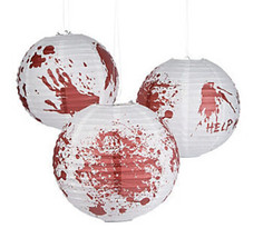 6 Halloween BLOODY Zombie Party Paper Lanterns WALKING DEAD Apocalypse B... - £10.68 GBP
