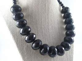 Vintage Chunky Black Bead Necklace, Large Faceted Black Bead Necklace - $22.00