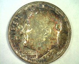 1964-D ROOSEVELT DIME CHOICE UNCIRCULATED SUPER ATTRACTIVE TONING / COLO... - $17.00